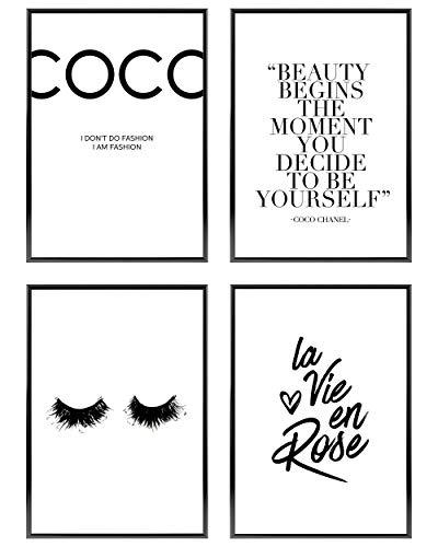 Heimlich ® Premium Poster Set | Stilvolles Set mit passenden Bilder in Schwarz-Weiß | 4 Stück in DIN A4 (21x30cm) | Ohne Bilderrahmen » Coco «