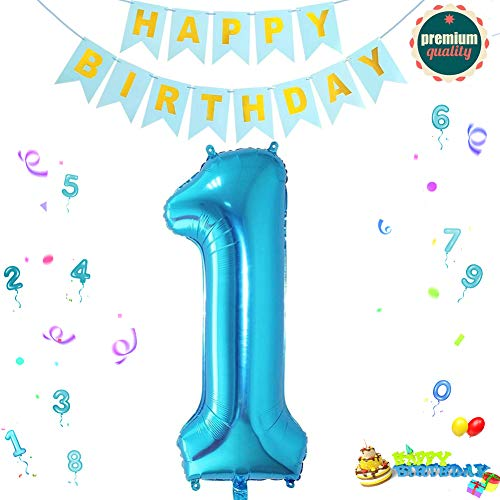 Sunshine smile Folienballon Zahl in Blau,Luftballon Zahlen,Riesige Folienballon,Zahl Geburtstagsdeko,Geburtstag Dekoration bunt,Party Supplies Folienballon im Zahlen-Design (1)