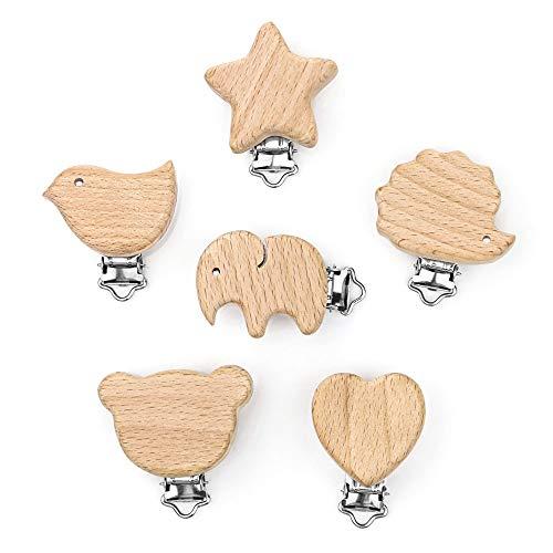 RUBY - 6Pcs Schnullerclips Kit Niedliche Holzklammern Schnuller Tierherz Baby Hosenträger Clips DIY, um Ihre Ketten für Kleinkind Jungen Mädchen Zahnen Schmerzlinderung Spielzeug Zubehör zu machen