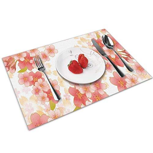 Mantel Individual Tapete de mesa Flores japonesas de Sakura Flores de cerezo en colores vibrantes Ilustración Coral Coral oscuro Tapete de mesa amarillo 30X45CM