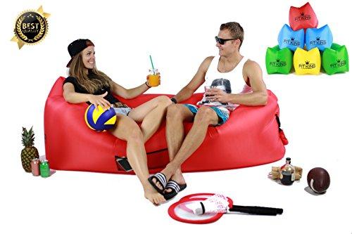Aufblasbares Sofa Liege Blow Up Sofa Air Liege Aufblasbar Sofa Bett Air Sofa aufblasbar Air Liege Outdoor aufblasbare Liege aufblasbare Couch Perfekte für Innen oder Außenbereich Hangout Camping Picknicks Musik Festivals, rot
