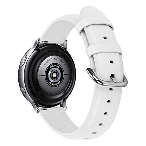ZLRFCOK Correa de piel auténtica de 20 mm y 22 mm para Samsung Galaxy Watch 42 mm 46 mm Active 2 Gear S3 Correa para Huawei Watch GT (color de la correa: blanco, ancho de la correa: 20 mm)