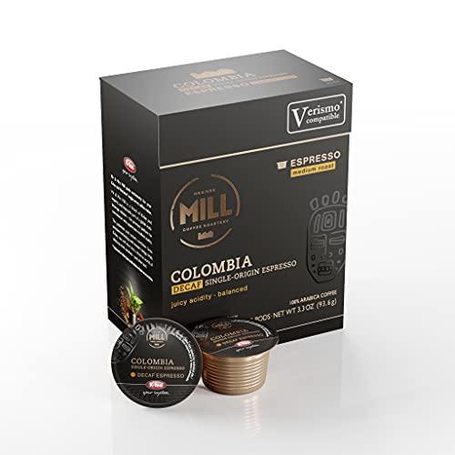 Mr and Mrs Mill Espresso Decaf Colombia Medium Roast Verismo / K-fee Compatible Single Serve Single Origin Coffee Pods 72 Count (6 boxes X 12 Pods)