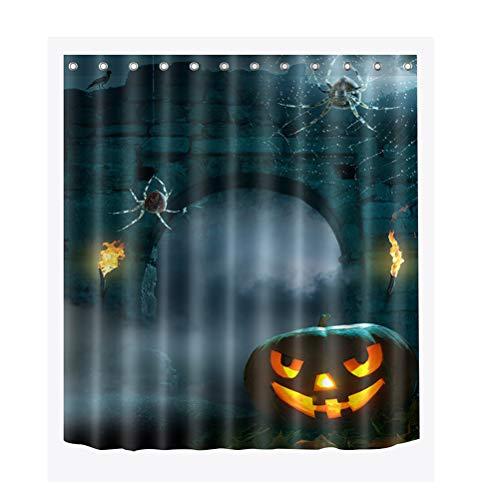 TOPBATHY Halloween Pompoen Lantaarn Patroon Douchegordijn Polyester 3D Digitale Print Partitie Gordijn Badgordijn Thuis Douche Decoratie met Haken