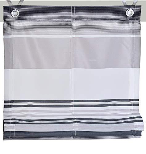 Kutti Raffrollo Ösenrollo Jamaica Querstreifen Farben grau Breite 80 x Höhe 130 cm
