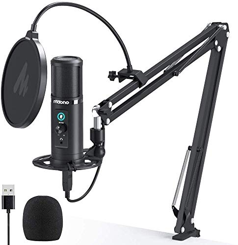 USB Mikrofon MAONO AU-PM422 192KHZ/24BIT Studio mikrofon Set Kondensatormikrofon mit Mikrofonarm,Spinne und Nierencharakteristik Drehregler Monitoring Echtzeitkontrolle Podcast Gaming Mikrofon