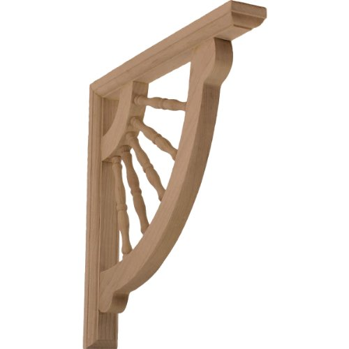Ekena Millwork BKT01X12X12CRRW  1 1/2-Inch W by 12-Inch D by 12-Inch H Crendon Wagon Wheel Bracket, Rubber Wood