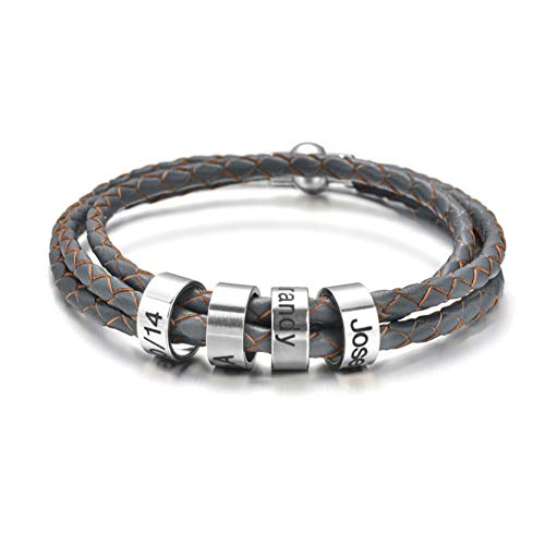 Pulsera personalizada para hombre con cuentas de plata con nombre trenzado, pulsera de identificación personalizada con nombre negro