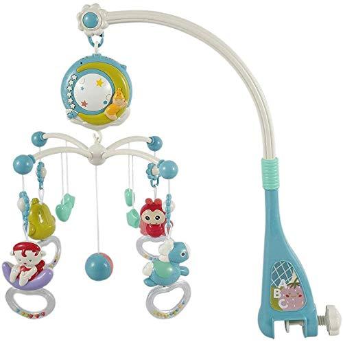 Móvil Musical para Cuna de Bebé de Viento con Función de Proyección Luz Nocturna Colgante Sonajero Juguetes para Niños y Niñas Regalos (azul)
