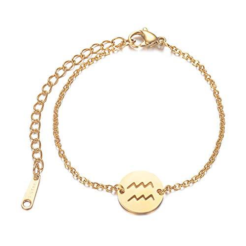 LPZW Star Women Fashion Zodiac Charm Bracelet 100% Horóscopo de Acero Inoxidable Pulseras Joyería de Moda (Metal Color : JN010 11)