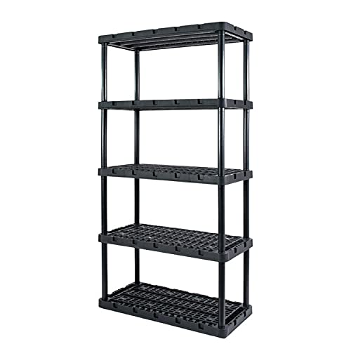 Gracious Living 91086-1C 18 x 36 x 72 Inch Knect A Shelf Fixed Height Heavy Duty Interlocking Ventilated Home, Office, Garage, Basement, Utility Room Storage 5 Tier Shelving Unit, Black