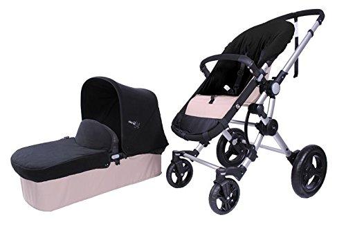 BabyAce 042 - Cochecito de bebé dúo - Chasis plata, base arena, set polar negro