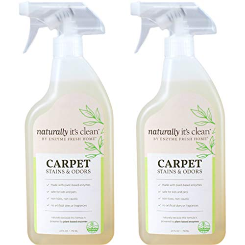 Naturally It's Clean Carpet Stains & Odors Cleaner; Plant Based Enzyme Safely Cleans Pet/Food Stains, Grease & Ink from Carpets, Rugs, Upholstery & Drapery, 24oz Spray Bottle x 2 Pack