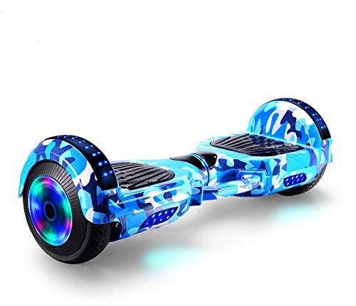 Scooter eléctrico inteligente de equilibrio automático con altavoz inalámbrico incorporado Polvo de camuflaje inteligente Bluetooth, Hoverboard para niños de 6 a 12 años,Camouflage blue,7 inches