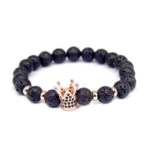 JINGGEGE Jengijo Moda Lava Charm Pulseras para Mujer Trendy Crown Braiding Brand Macrame Beads Bracelets & Bangles for Men (Metal Color : Rose Gold)