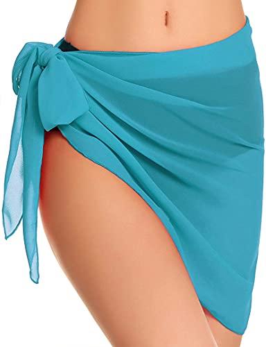 JFAN Traje de Baño para Mujer Vestido Envolvente Traje de Baño Chal de Gasa Pareo de Playa Falda de Pareo Tropical(U,Talla única