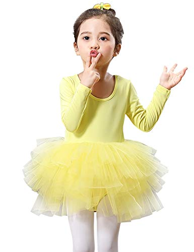 Kids Girls Ballet Tutu Dress Gymnastics Long Sleeve 4-Layers Tulle Tutu Leotard Yellow 5-6 Years