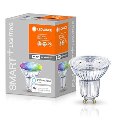 LEDVANCE Smarte LED-Reflektorlampe mit WiFi Technologie, Sockel GU10, Lichtfarbe änderbar (2700-6500K), RGB Farben änderbar, Dimmbar, ersetzt Reflektorlampen mit 50 W, SMART+ WiFi SPOT RGBW, 1er-Pack