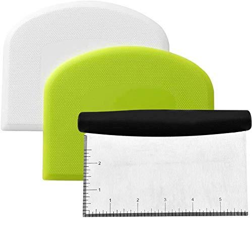 DAIRF Teigschaberkarte Kunststoff Set Edelstahl Teigschaber Kunststoff Schüsselschaber Teigkarte Mehrzweckküchenwerkzeug Backzubehör zum Teigteiler Backen BrotKuchen(3 Stück)