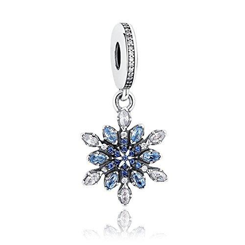 Ciondolo a forma di fiocco di neve, cristalli blu e zirconia cubica trasparente, in argento Sterling 925, compatibile con braccialetti e altri braccialetti europei