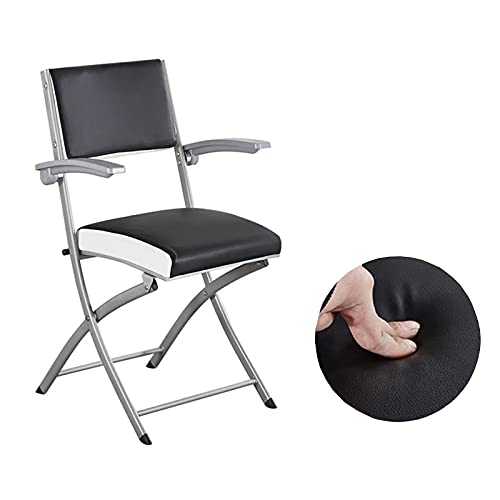Folding Office Chair, Comfortable Event Black Lightweight Rocker Chairs Steel Frame Upholstered Premium Fabric Seat Ergonomic Camping Chair Double Brace 330-Pound Capacity 1 Piece