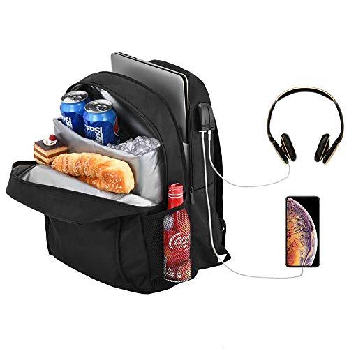 """Posloc Laptoprucksack mit Kühler,auslaufsicherer Kühlerrucksack 24L für das Mittagessen,Schulcomputerrucksack für 14"""" Laptop, Isolierter Kühltaschenrucksack für die tägliche Arbeit und Ausflüge"""