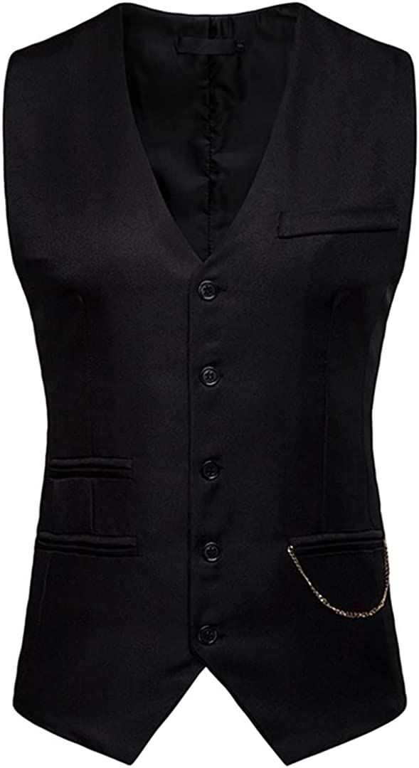 Mens Formal Slim Fit Single Breasted Dress Suit Vests with Chain Decoration Men Waistcoat Gilet