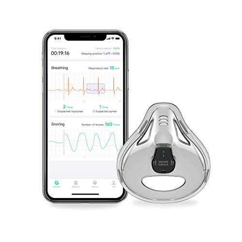 Sleep Breathing Monitor with App for iPhone & Android, Track Real-Time Sleep Apnea & Snore Data with Professional Report