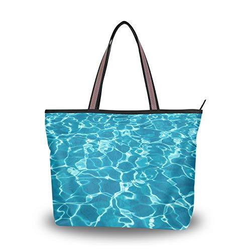 NaiiaN Bolso de mano, bolso de compras, bolsos de hombro para mujeres, niñas, señoras, estudiantes, bolsos ligeros con correa, azul, mar, océano, ola, piscina, agua