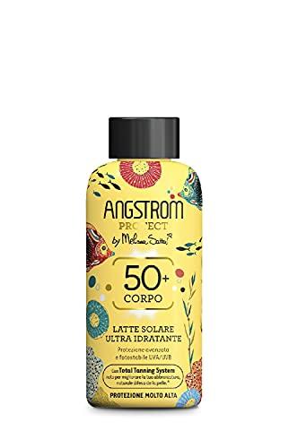 Angstrom Protect Latte Solare Ultra Idratante, Protezione Solare 50+ con Azione Nutriente, Migliora la Naturale Abbronzatura, Indicata per Pelli Sensibili, 200 ml