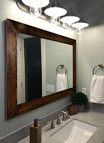 Shiplap Rustic Wood Framed Mirror 20 Stain Colors Large Wall Mirror Rustic Barnwood Style Bathroom Vanity Mirror Rustic Bathroom Decor Reclaimed Styled Wood Frame Mirror For Wall Handmade