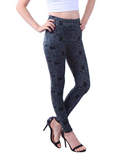HDE Women Plus Size Leggings Tight Stretch Pants for Women Cat Leggings