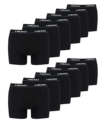 HEAD Herren Boxershorts Cotton Stretch 891003001 12er Pack, Farbe:Schwarz, Wäschegröße:L, Menge:12er Pack (6X 2er Pack), Artikel:-200 Black