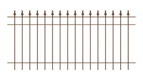 ELEO Gartenzaun Pino I aus massivem Schmiedeeisen - langlebig & witterungsbeständig I dekorative & hochwertige Zaun-Elemente - inkl. Schrauben I Länge 192,5 cm - unbeschichtet - Edelrost
