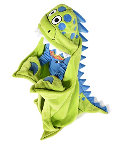 Lazy One Animal Blanket Hoodie for Kids, Hooded Blanket, Wearable Kids' Blanket, Soft, Cozy Fleece Hoodie, Dinosaur (Dino Blanket)