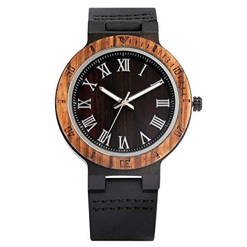LCDIEB Reloj de Madera para Hombre Reloj analógico de Esfera Redonda Simple para Hombre Cinturón de Cuero Negro Relojes de Pulsera de Cuarzo para Hombre, números Romanos