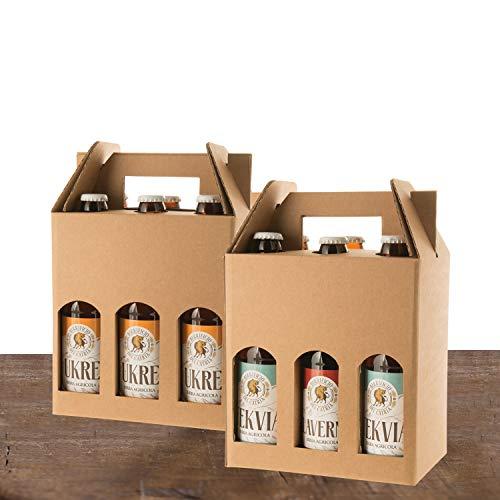 BIRRE CHIARE, AMBRATE E ROSSE - artigianali agricole - 12 bottiglie 33 cl - (2 HERIETUS double IPA + 4 TEKVIA ambrata + 6 UKRE bionda) - confezione regalo e messaggio di auguri