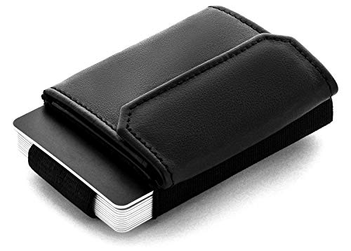 JAIMIE JACOBS Minimalist Wallet Nano Boy Pocket Mini Geldbörse aus Textil mit Zugband schmaler Kartenhalter für Herren und Damen (Vegan Schwarz)