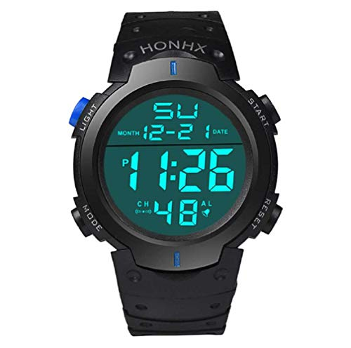 WSSVAN Reloj deportivo, reloj multifuncional LED electrónico de moda para hombres reloj digital LCD fecha caucho resistente al agua reloj luminoso (Azul)