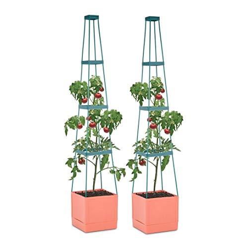 Waldbeck Tomato Tower - Tomaten-Pflanzkübel, Pflanzen-Aufzucht-Turm, Pflanztopf, 2er-Set, 25 x 150 x 25 cm, Bewässerungssystem, Balkon, Terrasse, 4-etagiger Rankhilfe, stabil, braun