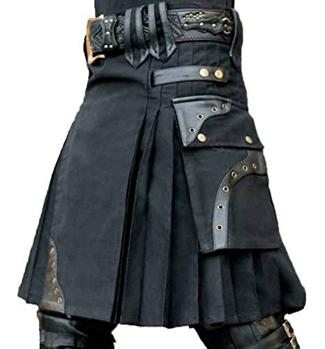 Mittelalterliches schottisches Retro-Kleid für Herren - traditioneller Highland Kilts-Rock mit Hybridleder-Taschen