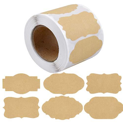 Kraft Etiketten Aufkleber, 500 Stück Kraftpapier Sticker, selbstklebende Marmelade Etiketten Aufkleber, Leere Gefrierschrank Etiketten für Marmeladenflaschen,Gläser,Handmade,Büro, Geschenkverpackung
