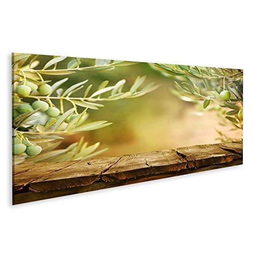 islandburner Bild Bilder auf Leinwand Olivenbäume Tafeloliven Tischplatte Olive Holztisch Wandbild Poster Leinwandbild GDEF