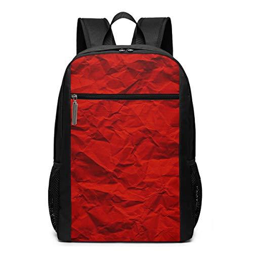 Schulrucksack Zerknittertes rotes Papier, Schultaschen Teenager Rucksack Schultasche Schulrucksäcke Backpack für Damen Herren Junge Mädchen 15,6 Zoll Notebook