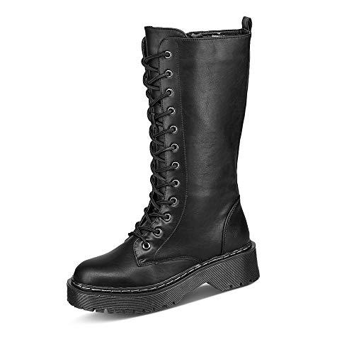Claudia Ghizzani 2.AB3209 Damen Stiefel Lederimitat Uni Blockabsatz Spitze rund, Groesse 37, schwarz
