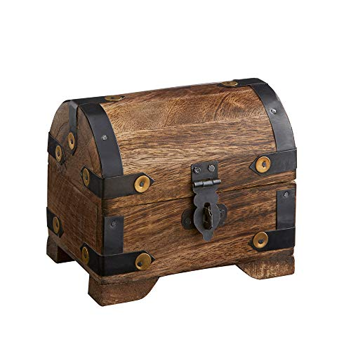 Casa Vivente Holztruhe – Bauernkasse – Schatztruhe – Schmuckkästchen – Spardose – Aufbewahrungsbox aus Holz – Klein – 10 cm x 7 cm x 8,5 cm (Dunkel - Klein) – Verpackung für Geldgeschenke