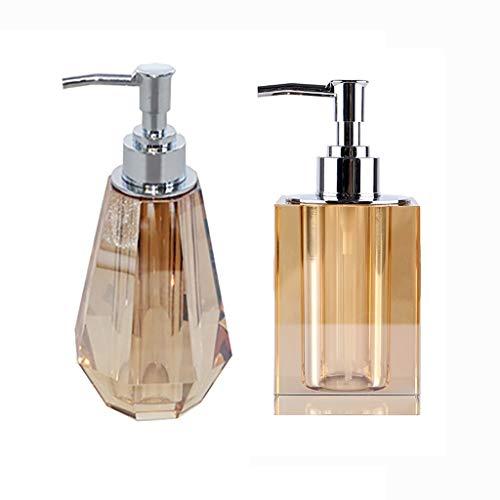 Distributeur de Savon Manuel Cristal distributeurs de Savon ABS Pompe en Plastique Transparent Accessoires de Bain de Lavage Rechargeables Huiles Essentielles (Color : 2*Brown1+2)