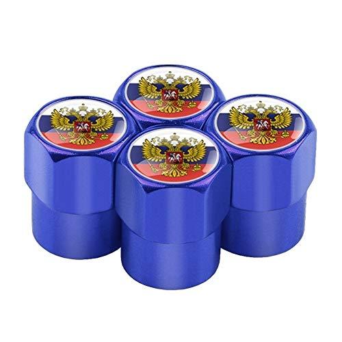 ErNahdasA Reifenkappen-Staubkappen, 4pcs / Set Kasten for Lada Niva Kalina Priora Granta Uaz Auto-Rad-Reifen Ventile Aluminium Reifen Stem Luftkappen Zur Autodekoration (Color : Blue Flag)