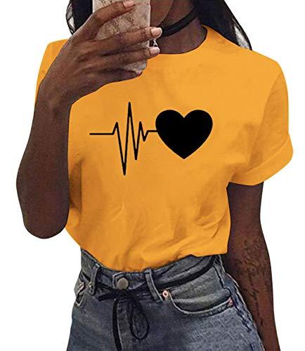 UMIPUBO Camiseta de Manga Corta Corazón Impresión Blusa Camisa Cuello Redondo Basica Camiseta Suelto Verano Tops Casual Fiesta T-Shirt Original tee para Mujer