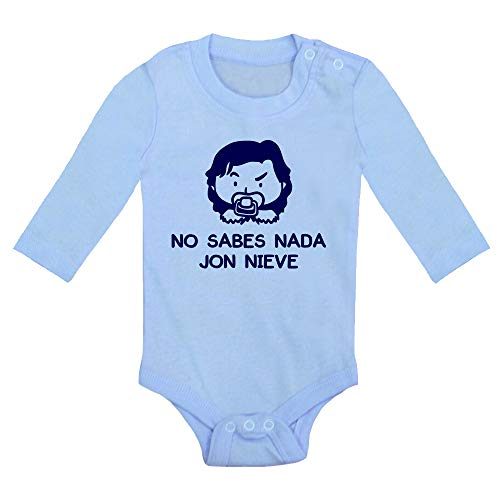 Body bebé No Sabes Nada Jon Nieve. Juego de Tronos, Game of Thrones, Fant Art Parodia. Bebé Friki. Manga Larga. (Azul, 9 Meses)